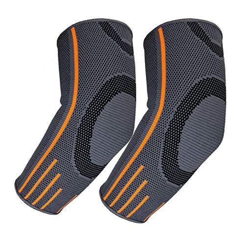 Rmolitty Ellenbogenbandage für Damen Herren, Ellenbogenschoner Kompression Für Sport Fitness Gym, Ellbogen Bandage Links & Rechts Tragbar (L, 2× Ellenbogenbandage)