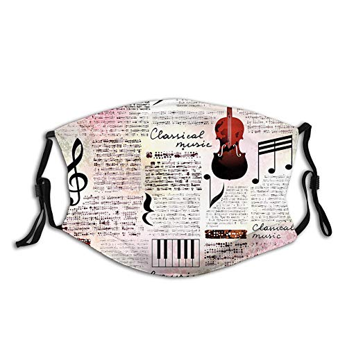 Classical Music Theme Instruments Piano Violin Notes Symbols Face Mask Reusable Washable Masks Cloth for Men and Women