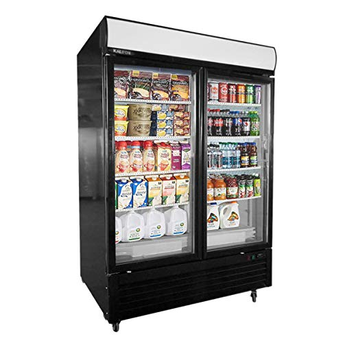 kalifon Reach-in Commercial Display Refrigerator Merchandiser with LED Lighting 49 cu.ft Two Glass Door Upright Stainless Steel Beverage Cooler, 33℉~41℉
