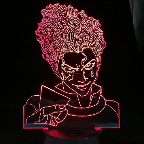 Lámpara de ilusión 3D Mood Led Luz de noche Hunter Hisoka para decoración de dormitorio Habitación Cumpleaños Manga Gadget Anime Hunter X-Con control remoto