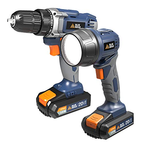 Blue Ridge BR1701U 20V MAX Cordless Drill Driver and Work light combo kit including two lithium batteries and charger
