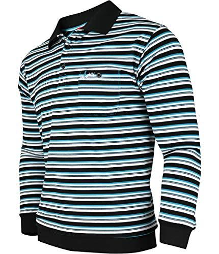 Soltice Herren Langarm Poloshirt mit Brusttasche, Polohemd Gestreift mit Kragen, Blousonshirt aus Baumwoll-Mix (M bis 3XL) (M, [M5] Navy)