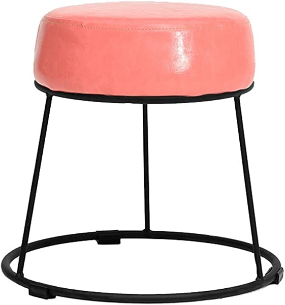 WZ Ottomans PU Footstool Makeup Stool Black Iron Frame Ottoman Pouffe Change Shoe Stool Living Room Bedroom 38 5cmx36cm Color Pink