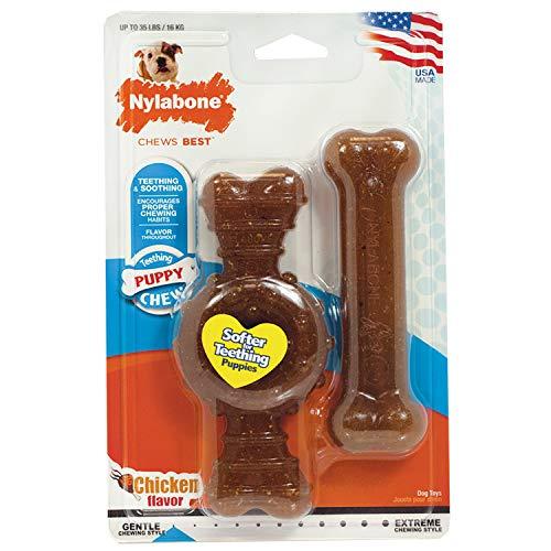Nylabone Kit pour Chiots Qui Font Leurs Dents Pack de Deux Os Dentaires à Mâcher/Deux Os Souples Pesant Jusqu'à 16 kg1 Unité