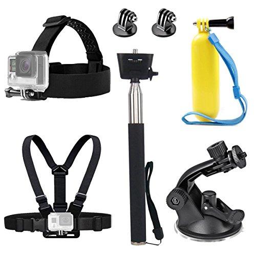 Tekcam Action Kamera Kopfgurt Brustgurt Gürtelhalterung Selfie-Stick schwimmender Griff Saugnapf Halterung Zubehör kompatibel mit GoPro Hero 8 7 6 Crosstour Campark 4K Victure Unterwasserkamera
