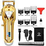 Ceenwes Hair Clippers Full Metal Hair Trimmer Haircut Cordless Rechargeable Beard Trimmer LED Display Grooming Kit for Men Women Kids Barbers(Golden)