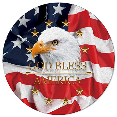 BMALL Modern Round Area Rug 5' Diameter USA Flag American Patriotic Eagle Independence Day Theme Throw Rugs Non-Slip Soft Floor Carpet for Living Room Bedroom Decor