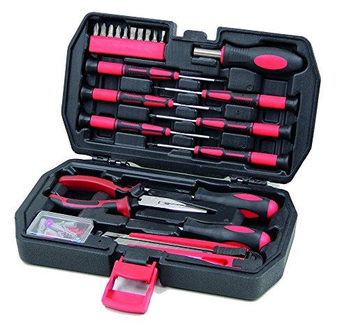 Kompakter & kleiner Werkzeugkoffer bestückt mit Schraubenzieher-Set. Kleines Werkzeug-Set mit rotem Werkzeug für Outdoor, Camping, Wohnwagen & Boot. Robuste & handliche Mini-Werkzeugkiste
