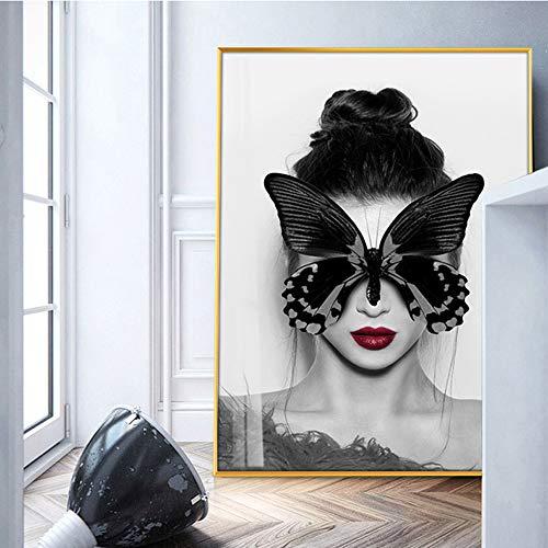 yhyxll Mariposa Chica Pared Lienzo Decorativo Arte Impresiones Modernas Hermosas Chicas Arte Moderno Lienzo Pinturas Pared Arte decoración Cuadros 1 40x60 cm