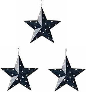 ACCENTHOME Americana Patriotic Wall Decor Star Wall Barn Metal 3D Stars Set of 3 July 4th Decor/Memorial Day Decor (Blue)