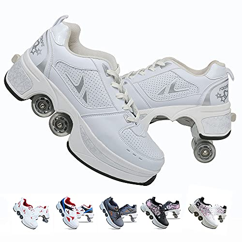 FGERTQW Rollschuhe für Kinder, Unisex, modisch, multifunktional, 2-in-1, automatisch einziehbare Rollschuhe, für Outdoor-Sport geeignet, Trainingsschuhe, Sneaker, weiß, 37