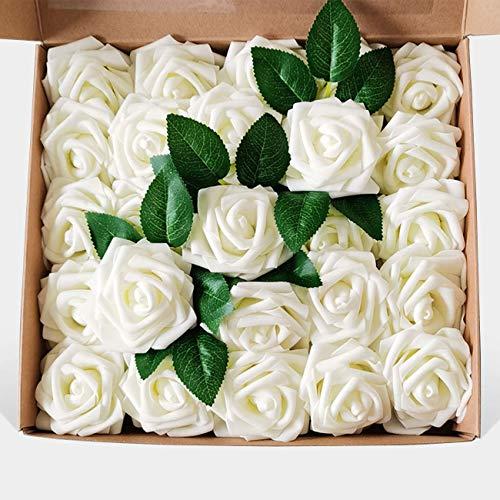 LERT 25 Rosen Geschenkbox, handgemachte Kunstblume Geschenkbox, Hochzeit Brautjungfer, Brautstrauß, Partydekoration, Heimdekoration, Geburtstagsgeschenk (Creme)