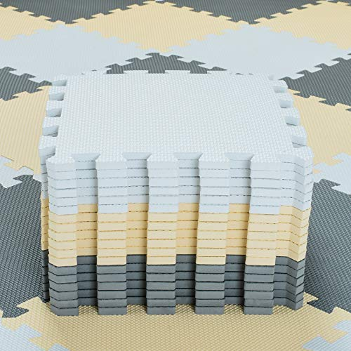 qqpp Alfombra Puzzle para Niños Bebe Infantil - Suelo de Goma EVA Suave. 18 Piezas (30 * 30 * 1cm), Blanco, Beige, Gris.QQC-AJLb18N