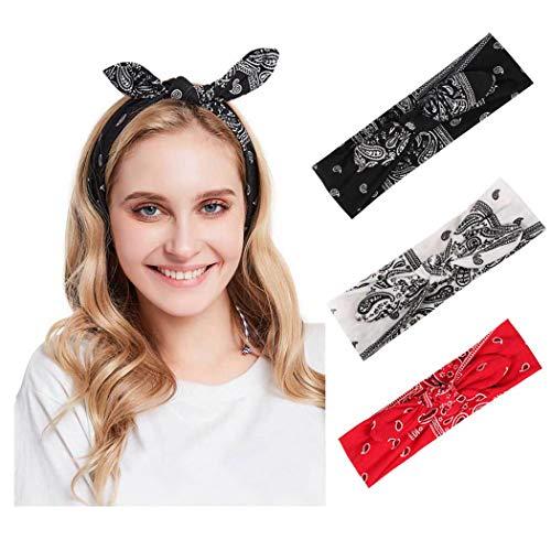 Edary Boho - Diademas de conejo cruzado, para entrenamiento de cabeza, turbante anudado, pañuelo para el pelo, elástico, para mujeres y niñas (3 unidades)