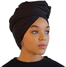 Head Wraps for Women - African Hair Scarf & Stretch Jersey - Long, Soft & Breathable Turban Tie Urban Headwrap