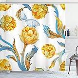 N\A Artischocken-Duschvorhang, abstrakt gefärbtes Gemüse im Jugendstil-Aquarell-Design, Stoff-Stoff-Badezimmer-Dekor-Set mit Haken, Erdgelb