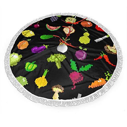 Bag Hat Weihnachtsbaum Rock Pixel Art Obst Und Gemüse Weihnachtsbaum Rock Mit Quasten Weihnachten Urlaub Dekoration 36 Zoll
