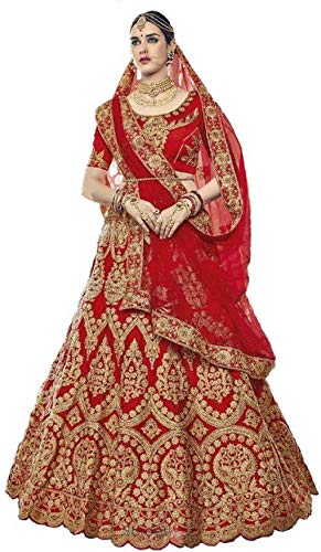 WestCoastOn Women's Silk Semi stitched Lehenga Choli (LC_noor_red_Red_Free Size)