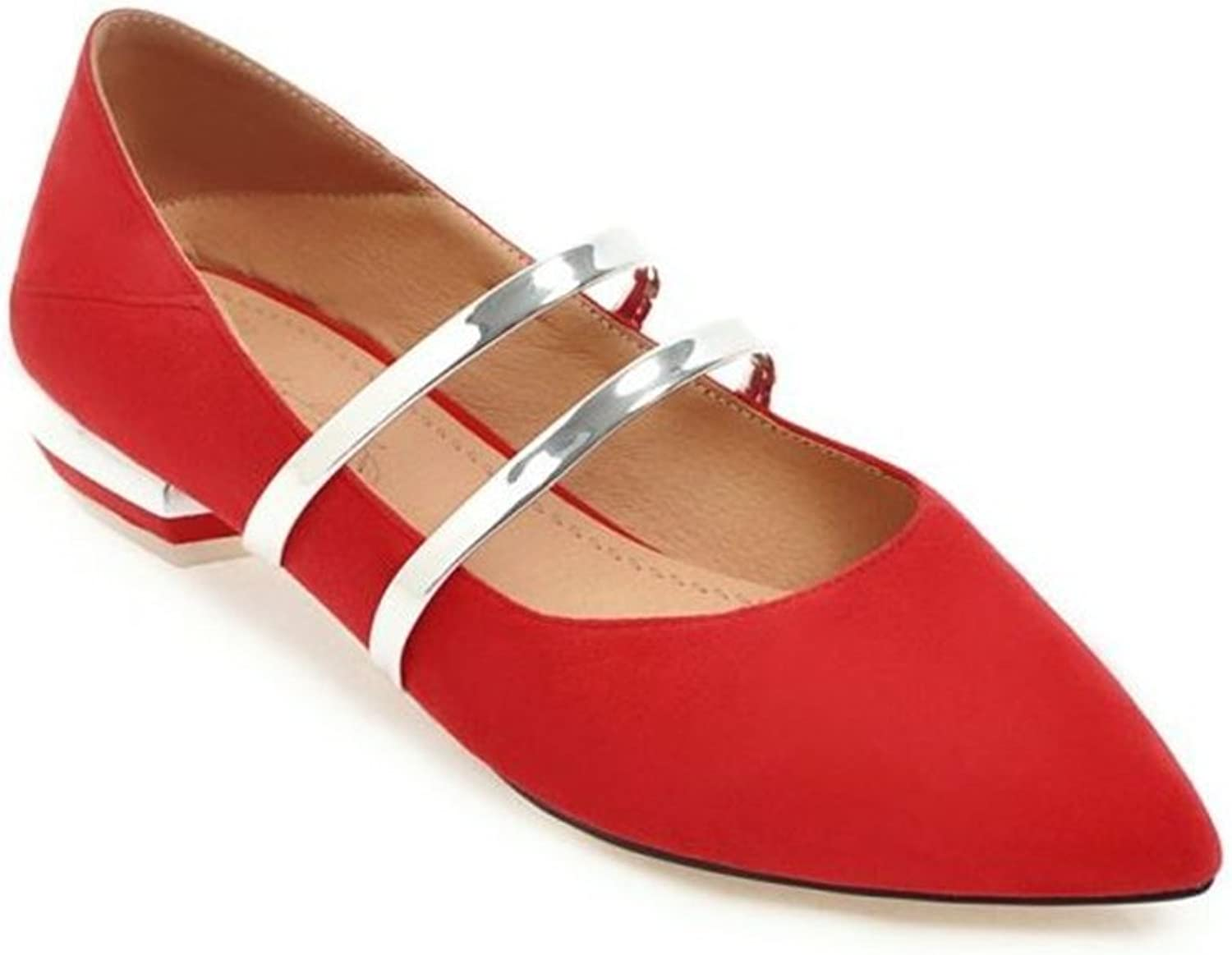 pink town Women's Classic Pointy Toe Ballet Flat Suede Comfort Fashion Slip On Flats shoes