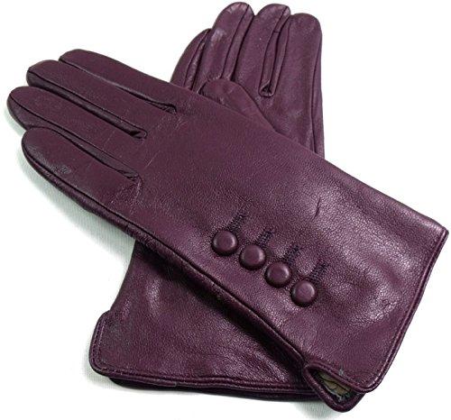 Damen Premium Qualität Original Superweich Leder Handschuhe Kunstpelz Futter Winter Alltag Warm - Lila, S