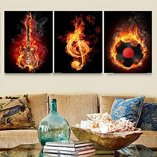 ZEMER 3 Piezas CuadrosenLienzo Fuego Quema Guitarra Eléctrica Arte De Pared Pintura...