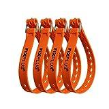 Fixplus Strap en pack de 4 - Sangle d'arrimage pour la fixation, l'arrimage, la mise en paquet et l'attachement, en plastique spécial avec boucle en aluminium 46cm x 2.4cm (orange)