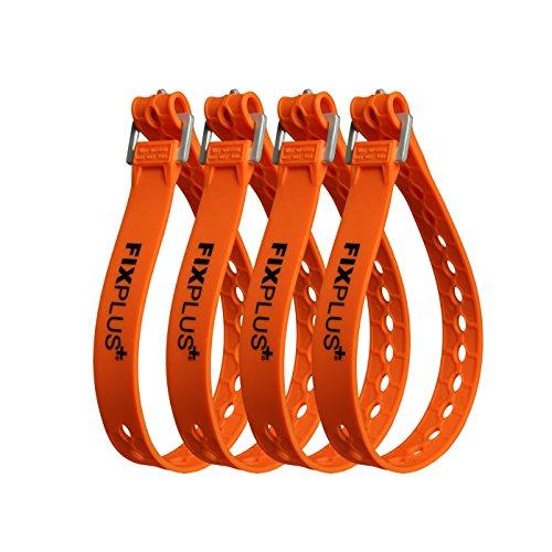 Correas Fixplus - Juego de 4 correas de amarre para asegurar, fijar, unir y amarrar, de plástico especial con hebilla de aluminio, 46 cm x 2,4 cm