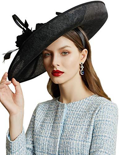 Coucoland Fascinators voor dames, elegante bloemenfascinator, haarband voor bruiloft, cocktail, Engelse thee, party, paardenrace, haaraccessoire voor dames, carnaval, kostuum zwart
