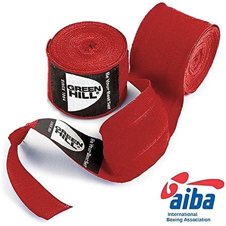 GREEN HILL Fasce BENDAGGI Bende Boxe Approvati AIBA Kick Boxing Nero Rosso Blu Elasticizzate OMOLOGATE