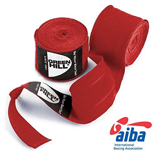 GREEN HILL Fasce BENDAGGI Bende Boxe Kick Boxing Nero Rosso Blu Elasticizzate (Rosso, 3,5 Metri)