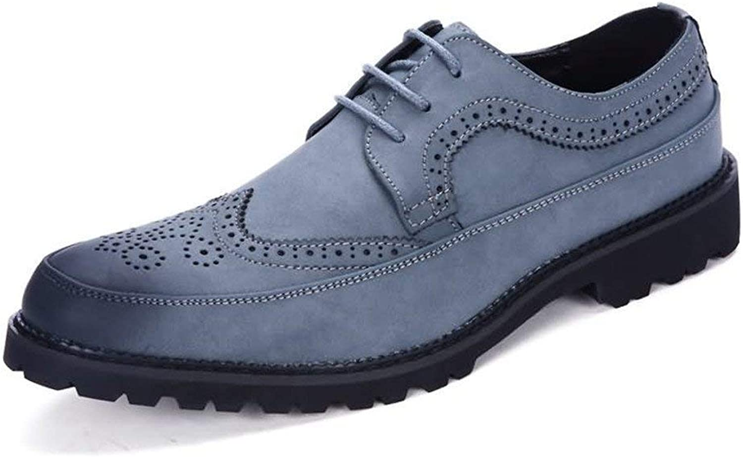 FuweiEncore 2018 Men's Oxford Flat Heel Lace up PU Leather Leisure Tooling shoes (color  bluee, Size  42 EU) (color   bluee, Size   43 EU)