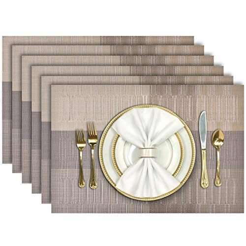 Aofmee Placemats, Placemats for Dining Table Set of 6, Heat Resistant Place Mats, Washable PVC Table Mats, Woven Vinyl Placemats, Non-Slip Stain Resistant Kitchen Table Placemats, Easy to Clean