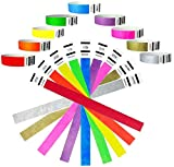 "Heavier Tyvek Wristbands 7.5 Mil- Goldistock Super Variety Pack 450 Ct. - ¾"" Arm Bands- Green, Blue, Red, Orange, Yellow, Pink, Purple, Gold & Silver- Paper-Like Party Armbands Wrist Bands for Events"