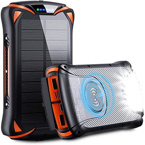 Wireless Power Bank 10W 30000mAh PD 18W Solar Portable Charger, QC 3.0 External Battery Pack with 3 Inputs and 4 Outputs Strong Flashlight Waterproof, Fast Charging Phone Charger for Outdoor Hiking