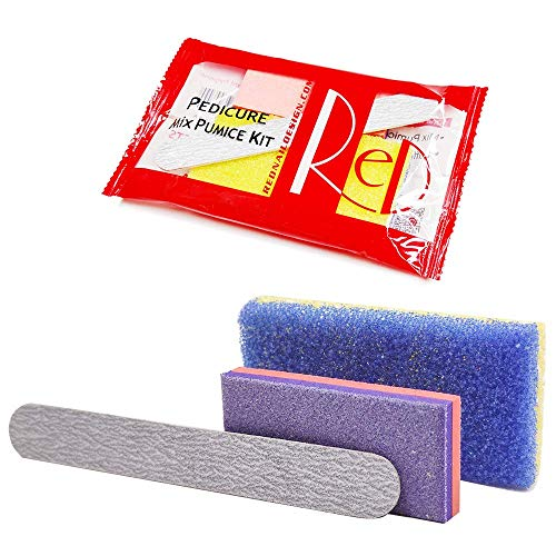 Red Disposable Pedicure Mix Pumice Kit Set for Nail Salon Used, Including Nail File, Mix Pumice and Buffer (20 Pieces)