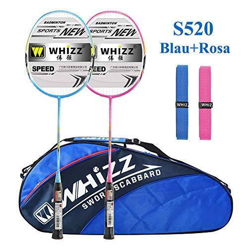 Badmintonschläger Set 2 Stk, 100% Carbon Fiber, 87g, Whizz S520 Graphit Schläger mit Tasche (Blau/Rosa)