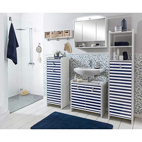 Lomadox Badezimmer Set maritim Badmöbel blau Weiss mit Seilgriffen LED Spiegelschrank 70cm Hochschrank