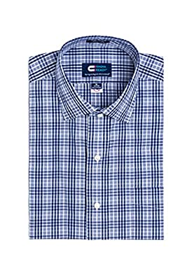 MagnaReady Magnetically Infused Navy & White Grid Mens Long Sleeve Dress Shirt