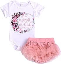 Kintaz Infant Toddler Baby Girl Floral Letter Romper Bodysuit+Tutu Dress Outfits (6-12 Months, White)