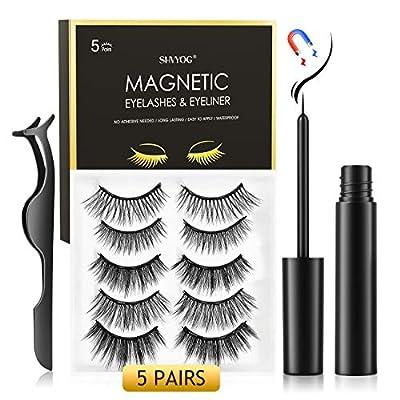 Magnetic Eyelashes with Eyeliner, SHVYOG 5 Pairs Upgraded Magnetic Eyelashes Kit, Natural Look False Reusable Magnetic Eyelashes, Magnetic Eyeliner and Eyelashes Kit With Tweezers Inside, Easy To Wear
