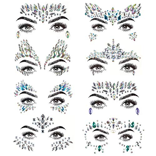 PROACC Face Gems 8 piezas gemas de la cara Face Jewels Pegatinas de diamantes de imitación Women Mermaid Rave Festival Cristales Glitter auto adhesivo Tatuajes temporales Eyebrow Face Body Jewelry
