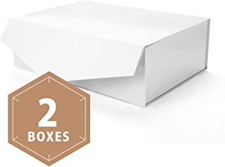 PACKHOME Large Gift Boxes Rectangular 14x9.5x4.5 Inches Bridesmaid Proposal Boxes, Sturdy Storage Boxes, Collapsible Gift Boxes with Magnetic Closure (Glossy White, 2 Boxes)