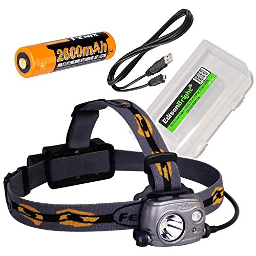 Fenix HP25R 1000 Lumen USB rechargeable CREE LED Headlamp (neutral white), 2 X Fenix 18650 rechargeable Li-ion batteries with EdisonBright BBX3 battery carry case bundle