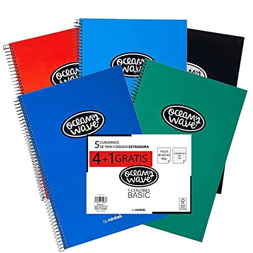 Ocean's Wave - Libreta Tapa Dura Cuaderno A4 Tamaño Folio, Cuadricula 4x4, 80hojas, Pack 4+1, Colores Básicos