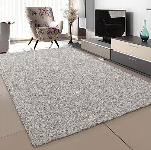 SANAT Teppich Wohnzimmer - Creme Hochflor Langflor Teppiche Modern, Größe: 80x150 cm