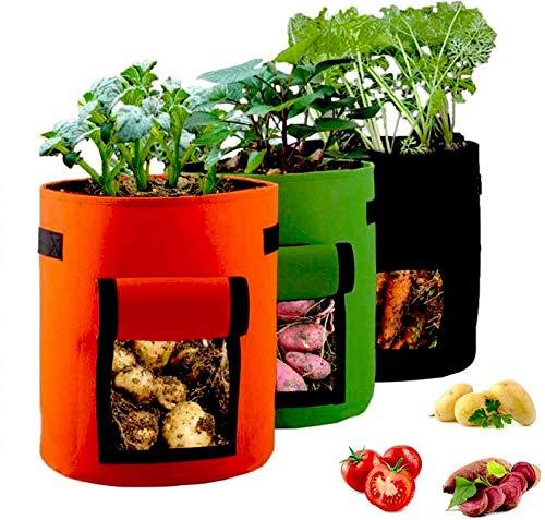 LKMING 3 Sacs de Plantation de Jardin de 10 Gallons, Sacs de Plantes Biodégradables, avec Poignées, pour Planter des Sacs de Plantation de Pommes de Terre/Carottes/Tomates (3 Pièces)