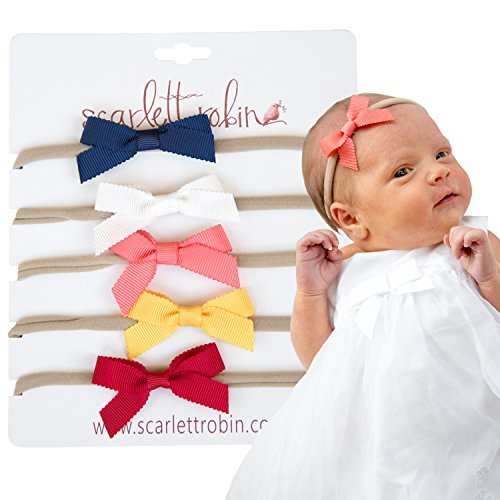 """5 Hair Bows for Girls and Babies on Nylon Headbands Multi-Pack {""""Ribbon Bolds""""}"""