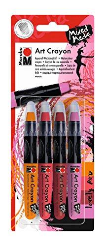 Marabu 014000000202 – Art Crayon, Crayons à Craie et Aquarelle, Lovely Red Doux, coloriable, crémeux, Doux, pour Papier, Toile, Carton de Peinture, Techniques Mixtes, aquarellable, Lot de 4