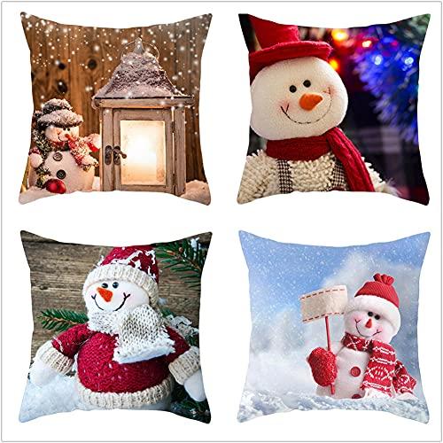 Super Suave Funda de Almohada, Navidad roja 4 Pack Algodón Lino Throw Pillow Case Fundas de Cojines para Cojín Hogar Decorativa Almohada para Sofá Coche Cama Sillas 40x40cm(16x16in)