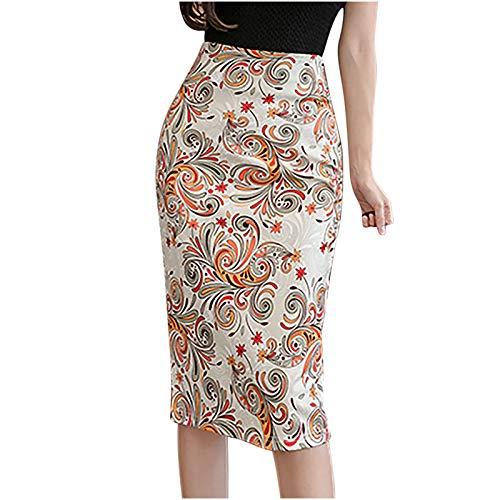 Falda corta para mujer, de verano, elástica, minifalda de moda para mujer, básica, moda para mujer, falda de media longitud, con estampado